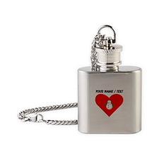Custom Christmas Snowman Heart Flask Necklace