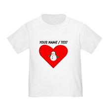 Custom Christmas Snowman Heart T-Shirt