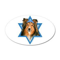 Hanukkah Star of David - Sheltie 35x21 Oval Wall D