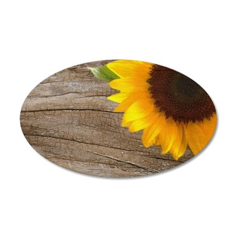 sunflower barnwood western c 35x21 Oval Wall Decal