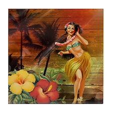 passion flower hawaii hula dancer Tile Coaster
