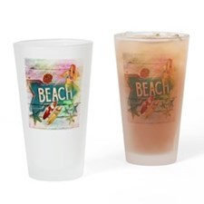 rainbow surfer beach  Drinking Glass