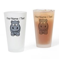 Custom Cartoon Hippo Drinking Glass