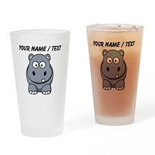 Custom Cartoon Hippo Drinking Glass