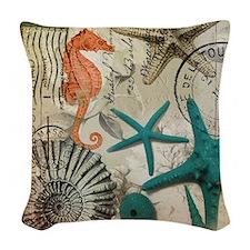 nautical seashells beach decor Woven Throw Pillow