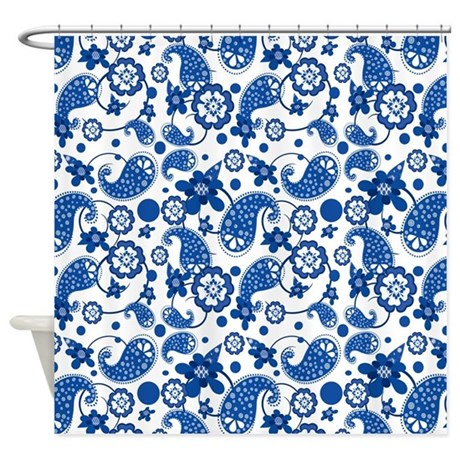 Dazzling Blue Paisley Pattern Shower Curtain By Hhtrendyhome