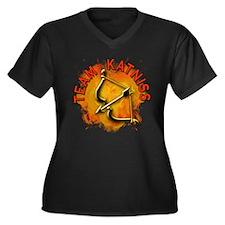 Team Katniss Catching Fire Women's Plus Size V-Nec