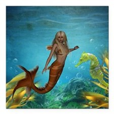 "Best Seller Merrow Mermaid Square Car Magnet 3"" x"