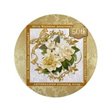 "Floral Gold 50th Wedding Anniversary 3.5"" But"