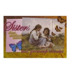 Sisters Childhood Idyll- Jewel Tones Postcards (Pa