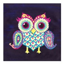 "Midnight Owl Square Car Magnet 3"" x 3"""
