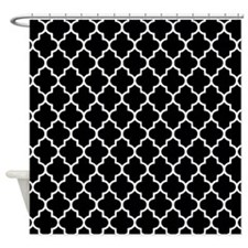 Black Quatrefoil Shower Curtain