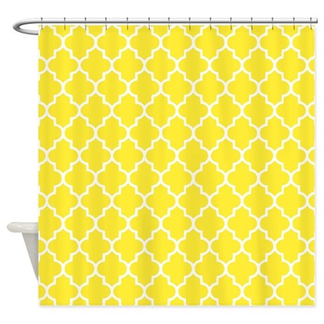 Yellow quatrefoil shower curtain by inspirationzstore for Quatrefoil bathroom decor