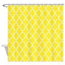 Yellow Quatrefoil Shower Curtain For