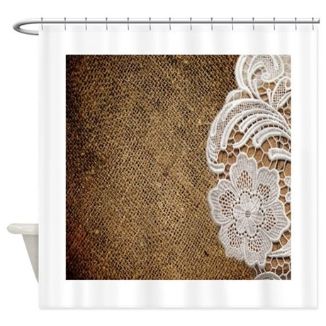 Burlap Lace Country Chic Shower Curtain By Listing Store