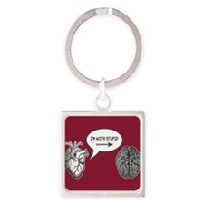 Im With Stupid (Heart to Brain) Square Keychain