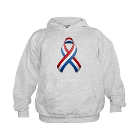 Red White & Blue Ribbon Kids Hoodie