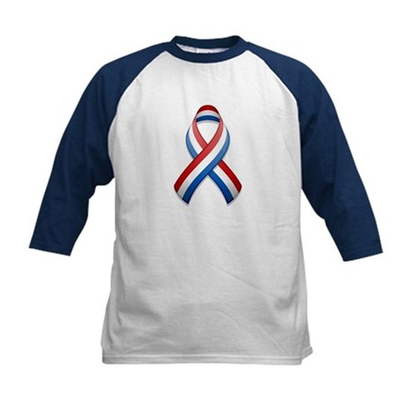 Red White & Blue Ribbon Kids Baseball Jersey