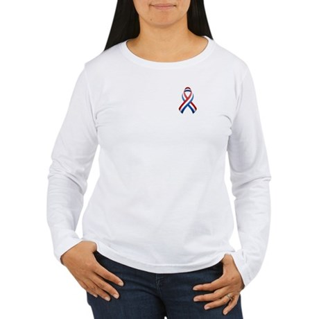 Red White & Blue Ribbon Women's Long Sleeve T-Shir