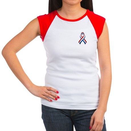 Red White & Blue Ribbon Women's Cap Sleeve T-Shirt