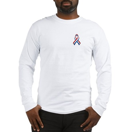 Red White & Blue Ribbon Long Sleeve T-Shirt