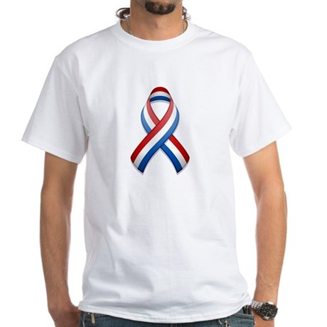 Red White & Blue Ribbon White T-Shirt