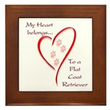 Flat-Coat Heart Belongs Framed Tile