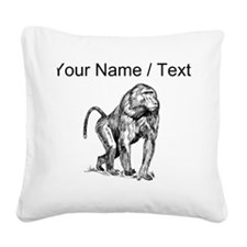Custom Baboon Sketch Square Canvas Pillow