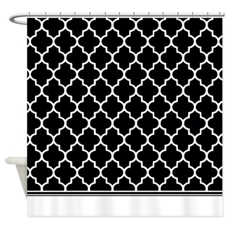 black and white quatrefoil shower curtain by inspirationzstore