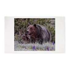 Grizzly Bear# 399 and her Triplets 3'x5' Area Rug