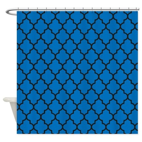 blue and black quatrefoil shower curtain by inspirationzstore