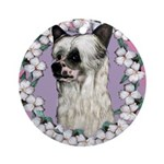 Powder Puff Chinese Crested Ornament (Round)