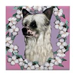 Powder Puff Chinese Crested Tile Coaster