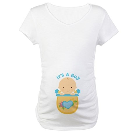 Its A Boy Baby Flower Pot Maternity T-Shirt