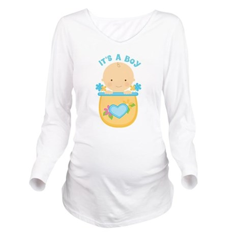 Its A Boy Baby Flower Pot Long Sleeve Maternity T-