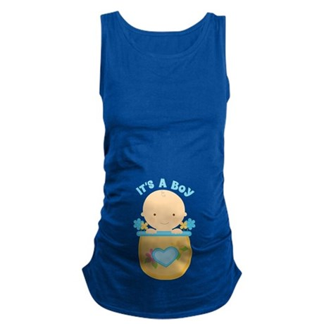 Its A Boy Baby Flower Pot Maternity Tank Top