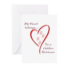 Golden Retriever Heart Belongs Greeting Cards (Pac