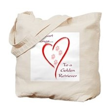 Golden Retriever Heart Belongs Tote Bag