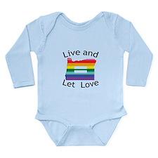Oregon live let love blk font Body Suit