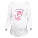 Its A Girl Pink Kitten Long Sleeve Maternity T-Shi