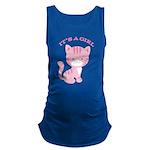Its A Girl Pink Kitten Maternity Tank Top