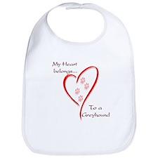 Greyhound Heart Belongs Bib
