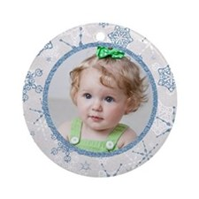 Cute Christmas snowflake photo Ornament (Round)