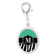 Teal Zebra Print Monogram Charms