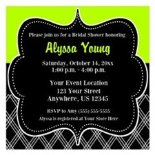 Lime Green Black Invitations