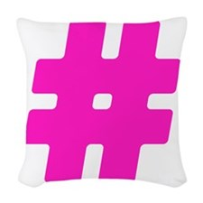 Hot Pink #Hashtag Woven Throw Pillow