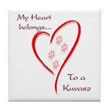 Kuvasz Heart Belongs Tile Coaster