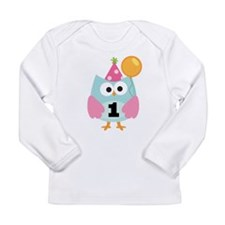 Babys 1st Birthday Owl Long Sleeve Infant T-Shirt