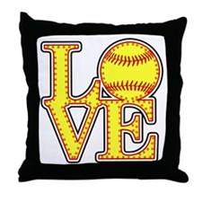 Love Softball Stitches Throw Pillow
