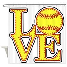 Love Softball Stitches Shower Curtain